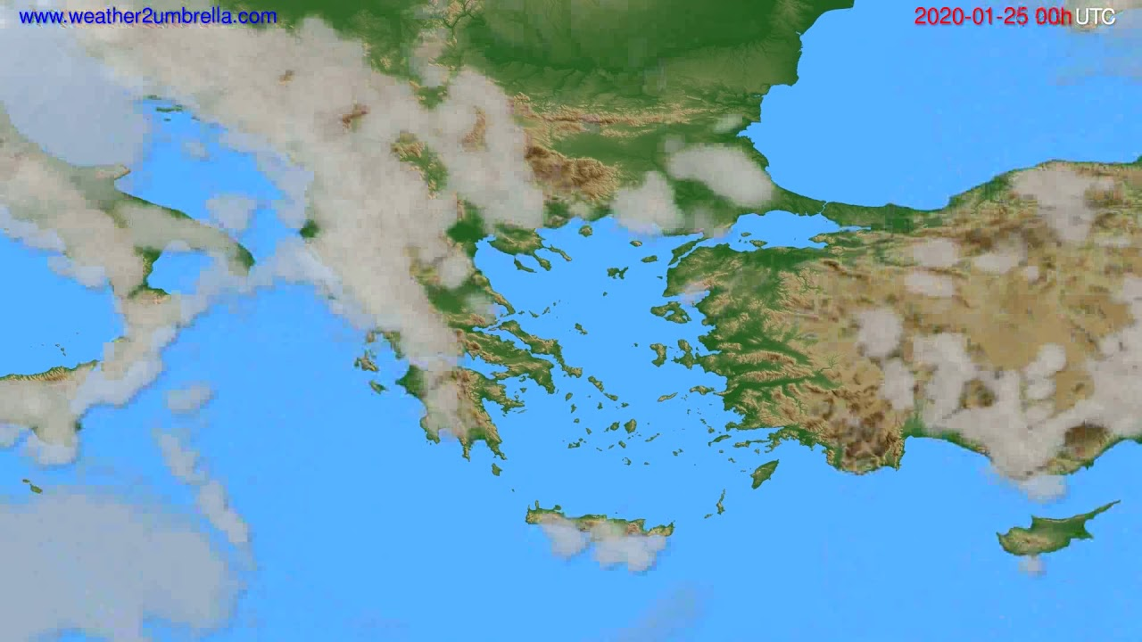 Cloud forecast Greece // modelrun: 00h UTC 2020-01-24