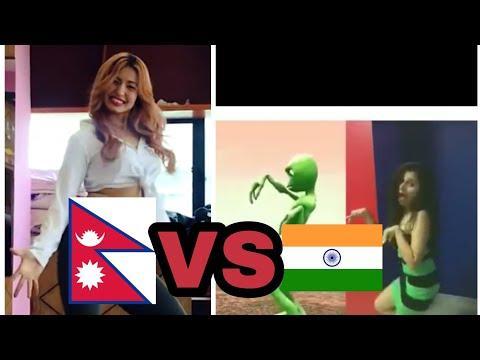 Nepali VS Indian girls alien dance who dance better(DAME TU COSITA)2018