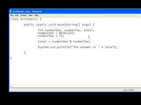 Java Video Tutorial 3: Variables and Arithmatic (Part2)