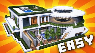 Minecraft: Big Modern House / Mansion Tutorial - [ How to Make Realistic Modern House ] 2020