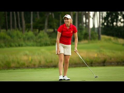 Amateur-Europameisterin Barquín auf dem Golfplatz  ...