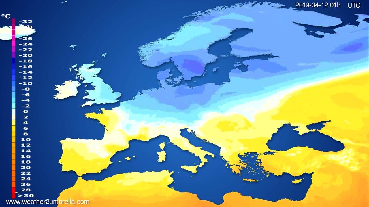 Temperature forecast Europe // modelrun: 12h UTC 2019-04-10