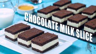 Chocolate Milk Slice Cake - Kinder Chocolate Milk Slice
