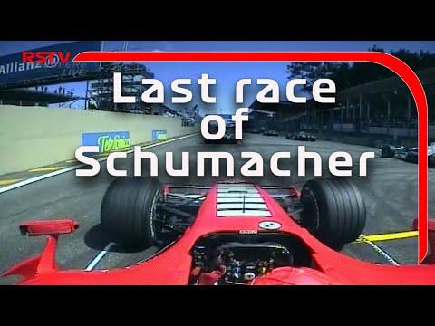 l'ultima gara di michael schumacher sulla rossa - da urlo!
