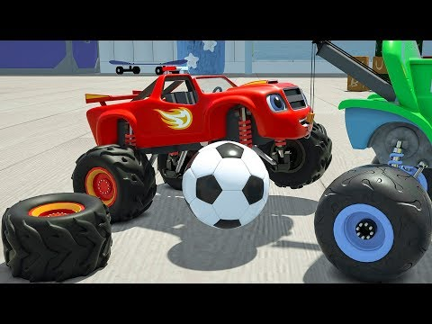 Assembly Monster Machine Wrong Tire. Learn Colors Ultimate Street Vehicle Blaze for Kids Children