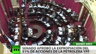 El Senado de Argentina aprueba la expropiación de la petrolera YPF