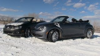 2013 Volkswagen Beetle Vs Eos Convertible Snowy 0-16 MPH Mashup Review