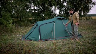 Универсальная трехместная туристическая палатка с большим тамбуром и ветрозащитной юбкой. Alexika Tower 3 Plus