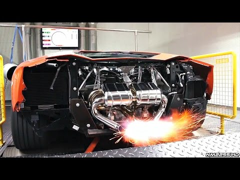 lamborghini aventador with capristo amazing flames on dyno