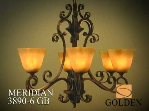 Video for Meridian Golden Bronze Six-Light Chandelier