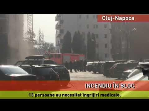 Incendiu violent, într-un bloc din Cluj-Napoca