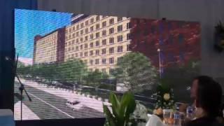Proyeksi visual gedung baru Bareskrim Polri dipaparkan saat groundbreaking di kompleks Mabes Polri, Jakarta, Kamis (20/4/2017). Rencananya pembangunan akan berlangsung hingga Desember 2018. Pemerintah menganggarkan Rp 646,95 miliar untuk proyek ini.(AMBAR)