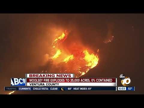 Woolsey Fire jumps 101 Freeway in burn across Ventura County