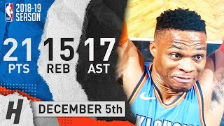 Russell Westbrook Triple-Double Highlights Thunder vs Nets 2018.12.05 - 21 Pts, 17 Ast, 15 Reb!