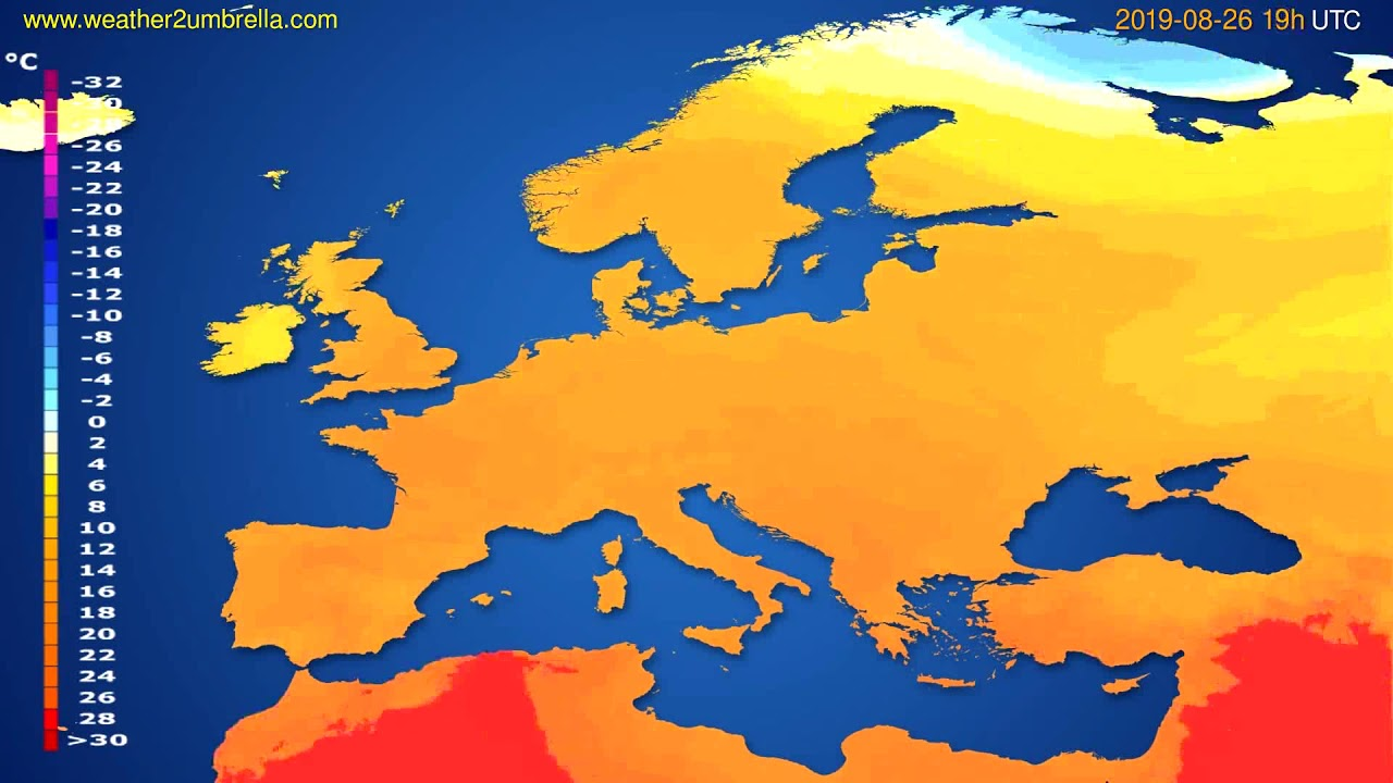 Temperature forecast Europe // modelrun: 12h UTC 2019-08-23