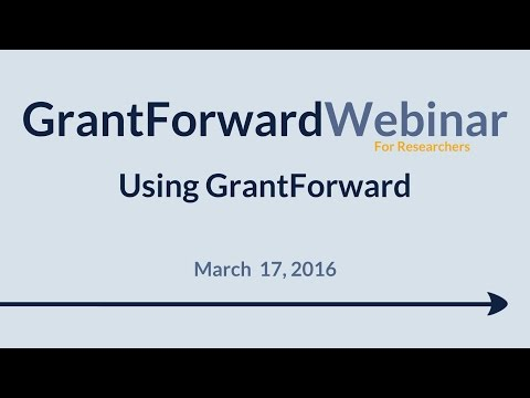 GrantForward Webinar held on March 17, 2016, for researchers and faculty at subscribing institutions. This webinar covers using GrantForward in general-- how to create accounts, search for grants, view grant and sponsor pages, use filters, manipulate results, create profiles, and receive grant recommendations. For more information about how to use GrantForward, visit www.GrantForward.com/support.