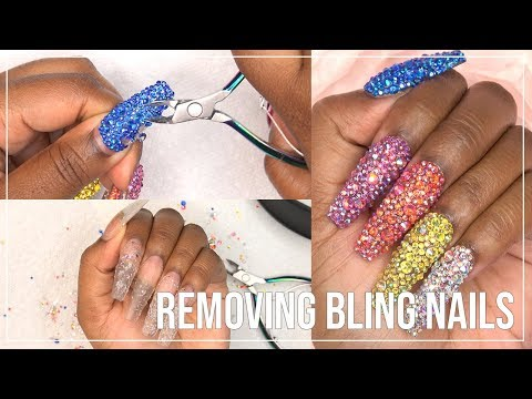 Gel nails - Removing 500 NAIL CRYSTALS?! - Rainbow Nail Bling Removal - LongHairPrettyNails