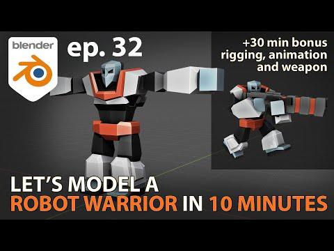Let's model a ROBOT WARRIOR in 10 MINUTES - Blender 2.83 - ep. 32
