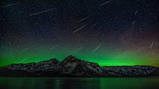Northern Lights and meteors at Lake Minnewanka in Banff