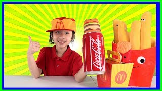 Pretend Play at McDonalds using Fake Money to Buy Happy Meal