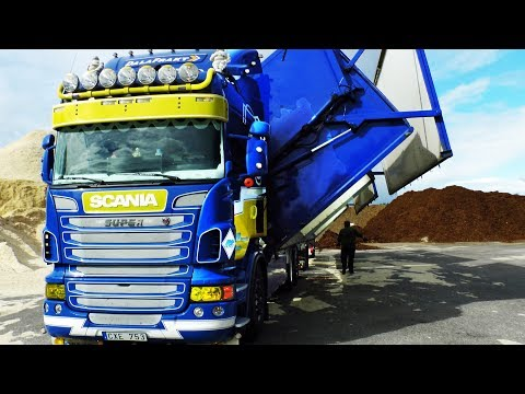 truck - Scania wood chip truck transports bark from Bergkvist sawmill at Insjn, Sweden Driver Tommie Ringve, Niclas Sjblom transport AB, Dalafrakt For more truck v...