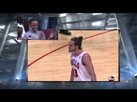 Pretty Touching: Joakim Noah's Dad reacts to son's great play on the court during in-game interview.