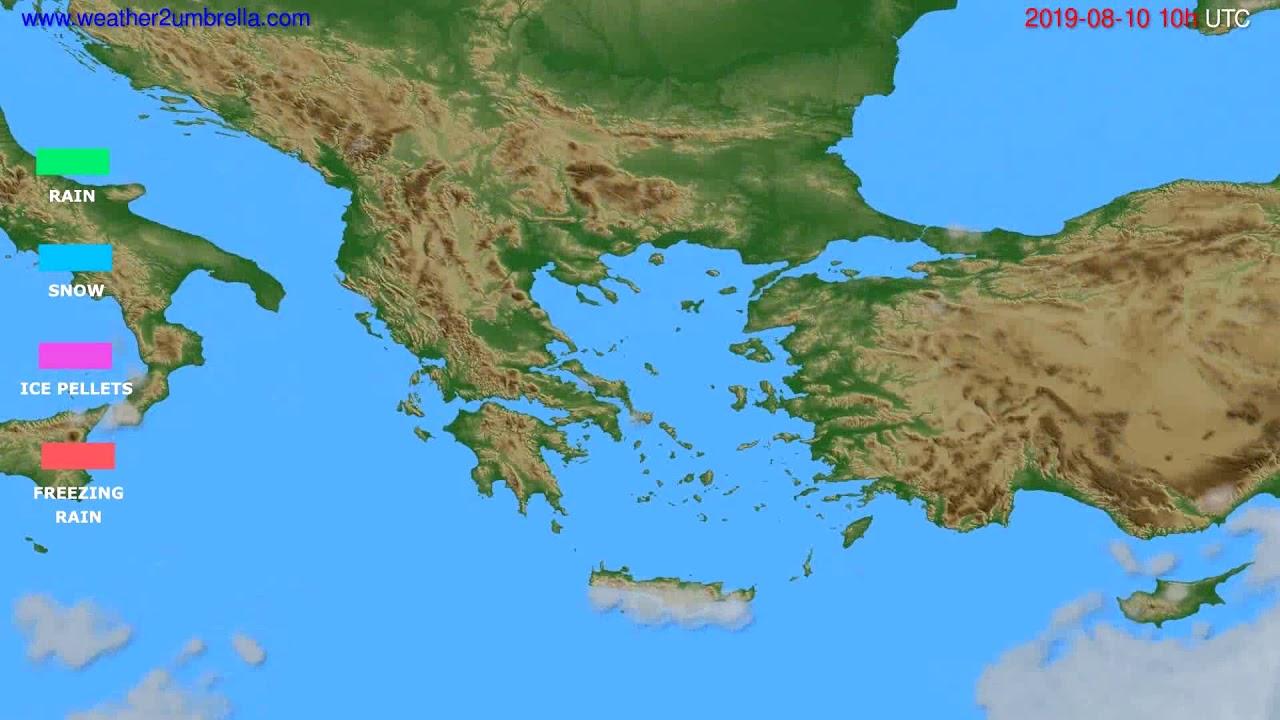 Precipitation forecast Greece // modelrun: 12h UTC 2019-08-07