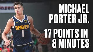 Michael Porter Jr. Drops 17 Points in 8 Minutes vs. Hornets