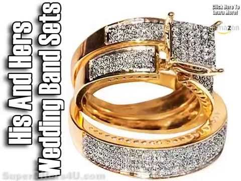 His And Hers Wedding Band Sets-Wedding Bands Sets -Plain Gold Wedding Bands