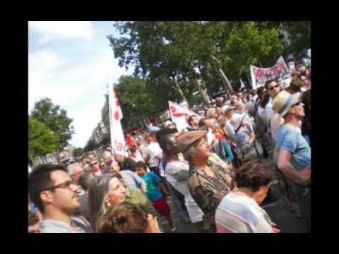 """Παρίσι 28 Ιουνίου 2015, διαδήλωση υποστήριξης του """"ΟΧΙ"""" στο ελληνικό δημοψήφισμα της 5ης Ιουλίου"""