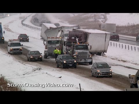 11/26/2014 Interstate 35 - Medford, MN Traffic Nightmare  lots of crashes