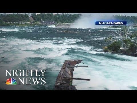 Boat Stuck At Niagara Falls For More Than 100 Years Comes Loose  NBC Nightly News