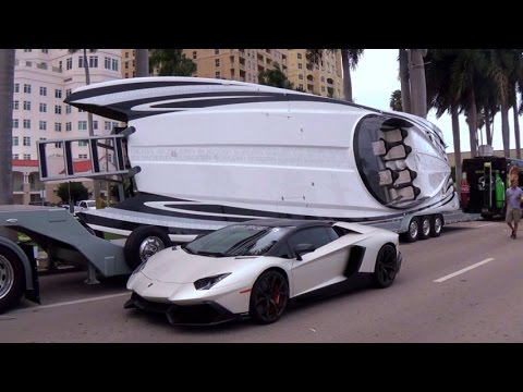 200+ Best Supercars arriving for the car show + Lamborghini Speedboats  SUPERCAR WEEK 2015