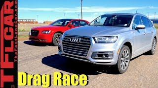 2017 Audi Q7 vs Chrysler 300S Mashup Drag Race: Big Sedan vs Bigger Crossover! by The Fast Lane Car