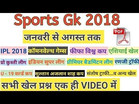 Sports Gk 2018 (January to August) खेलकूद 2018/sports current affairs (видео)