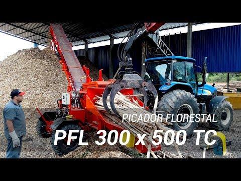 Picador Florestal móvel com calha de descarga dobrável PFL 300 x 500 TC