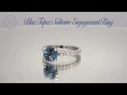 Blue Topaz Solitaire Engagement Ring