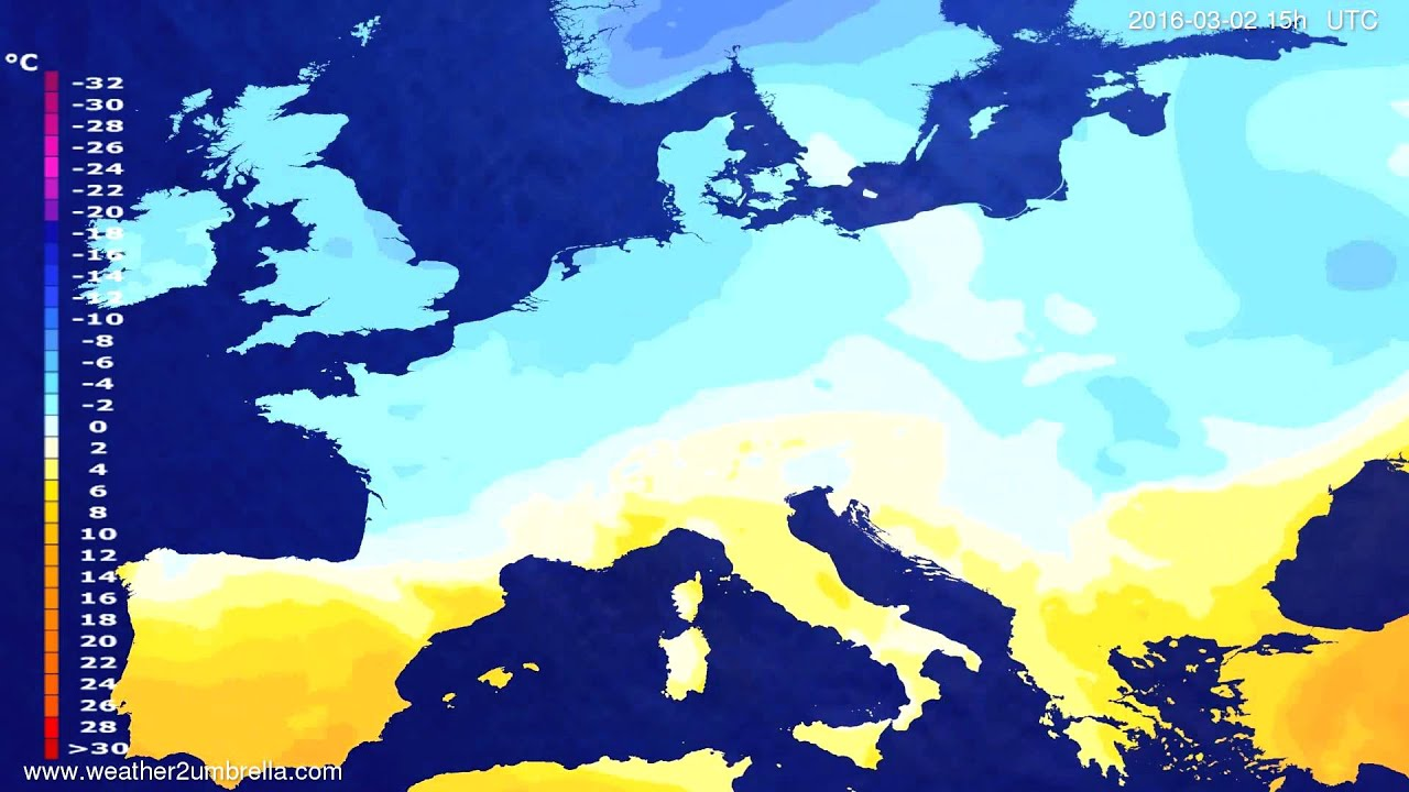 Temperature forecast Europe 2016-02-29