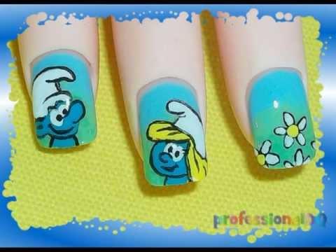 nail art con i puffi