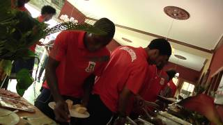 Lunch with Equatorial Guinea team (25/01) before its match against Gabon. Orange Africa Cup of Nations, EQUATORIAL GUINEA...