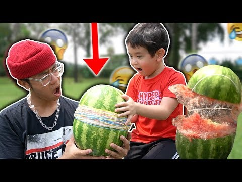 WATERMELON vs 500 RUBBER BANDS!! **funny challenge w/ lil brother**