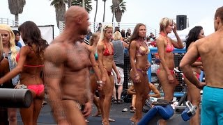 Backstage at a Muscle Beach Bodybuilding Contest