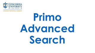 Primo Advanced Search