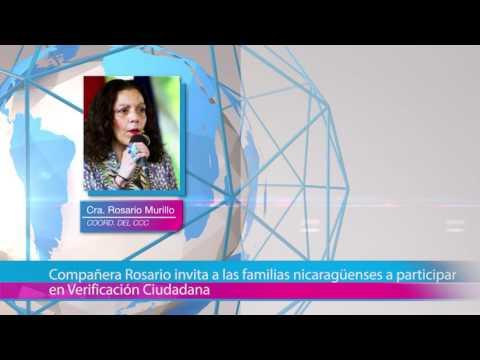 Compañera Rosario invita a las familias nicaragüenses a participar en Verificación Ciudadana