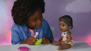 """Make her favorite pretend snacksFeed her with the special spoonShe """"poops"""" in her diaperIncludes doll, outfit, 1 diaper, 2 one-ounce containers of reusable doll food, 3 accessories, and instructions"""