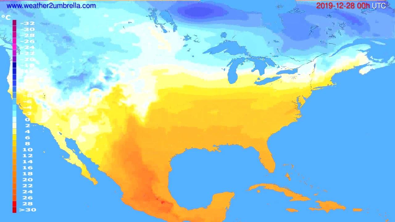 Temperature forecast USA & Canada // modelrun: 00h UTC 2019-12-27
