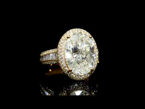 EGL Certified 7.61ct Oval Brilliant Cut Diamond Ring