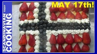 """We decided to make a Norwegian Flag cake because May 17th is just around the corner. The holiday commemorates May 17, 1814 when the Norwegian constitution was signed.  Among Norwegians, the day is referred to either syttende mai (lit. """"seventeenth May""""), Nasjonaldagen (The National Day) or Grunnlovsdagen (The Constitution Day). 🌹🎉The holiday is non-military in nature.  There are children's parades throughout the country such as in Oslo there is a massive parade which passes the royal palace.  There on the balcony the royal family waves to the crowd.  As well  people wear the flag colors wave the Norwegian flags while watching the parade.  There are lots of music and food to the festivities too.🎈 ☀ 🌻😎 This cake has many of the elements that makes us think of the beginning of spring with fresh blueberries and strawberries 🍓decorating the cake it is the perfect cake to celebrate during the spring season.  Of course when serving the flag cake there should be on the table an extra bowl of freshed whipped cream and fresh fruit just incase you would like to add more on your plate.  A nice cup of coffee or tea goes well with the cake too. 🍴 🥄   ☕NORWEGIAN FLAG CAKE  RECIPE🍰 🌺 Ingredients 🌸 🌼 1 1/2 cup of flour1 cup of sugar1/8 cup of milk3 eggs1 1/2 stick or 12 tablespoons of butter1 teaspoon of baking powder1 teaspoon of vanilla extractPreheat oven at 425F Bake for 10 minutes.❄️We hope you enjoyed our video and recipe!  ❄️ Give us thumbs up if you like this video & subscribe for more videos. 👍👍 Thanks! Tak!❄️For notifications of our video release click on the bell (lower left of the video)❄️ SUBSCRIBE to learn how to make Scandinavian dishes. https://www.youtube.com/user/ScandinavianToday❄️ Our Scandinavian Today Cooking Show includes Nordic recipes including Danish, Norwegian, Swedish, Icelandic and Finnish. You might be interested in other Nordic cooking videos includingÆbleskiver ♥ How to Make Danish Aebleskiver with Apple Filling  ❅https://youtu.be/mb8Y9IyfMS4How to ma"""