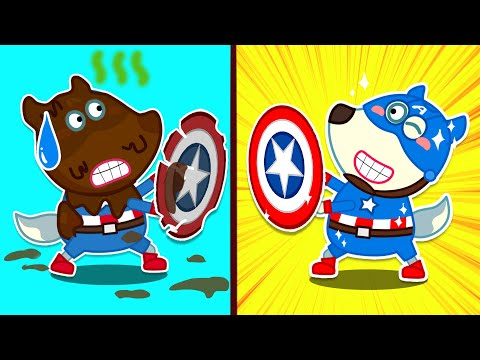 Wolf family | Captain America Wolfoo is Covered in Full of Mud