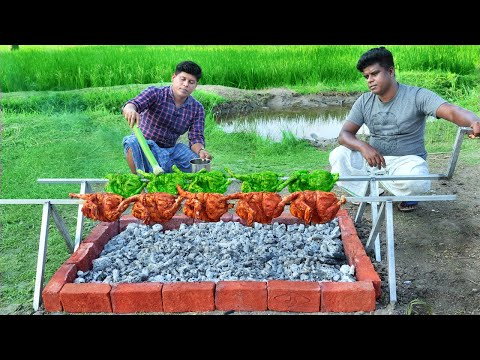 BARBEQUE CHICKEN | Yummy Green & Red Bbq Chicken | Cooking In Village Style